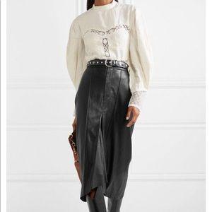 Vintage Leather Black Maxi Skirt